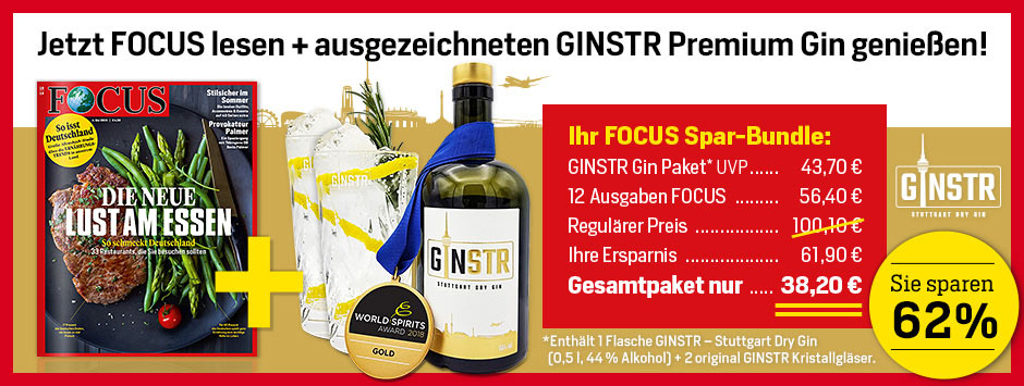 FOCUS 12 Ausgaben Spezial Mini-Abo + Gin GINSTR