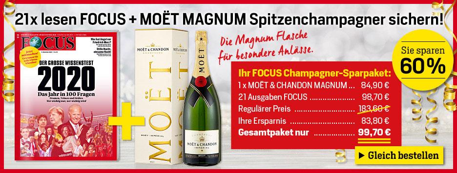 FOCUS 21 Ausgaben + MOET Champagner - Dez 2020