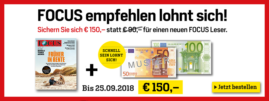 150 € Verrechnungscheck mit FOCUS Abo