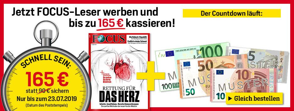 FOCUS Countdown - Leser werben und 165 € sichern!