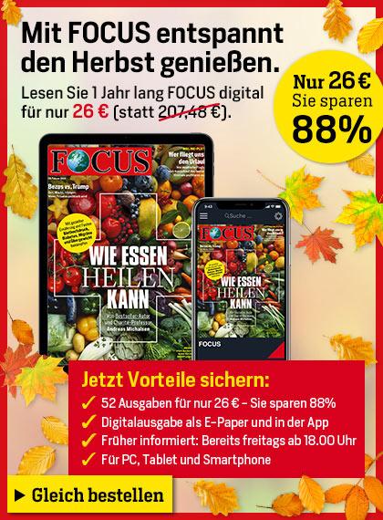 Focus Digital-Abo - 52 Ausgaben für 26 Euro
