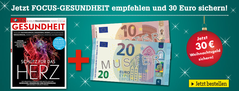 FOCUS GESUNDHEIT Weihnachtsangebot 30 € Scheck!