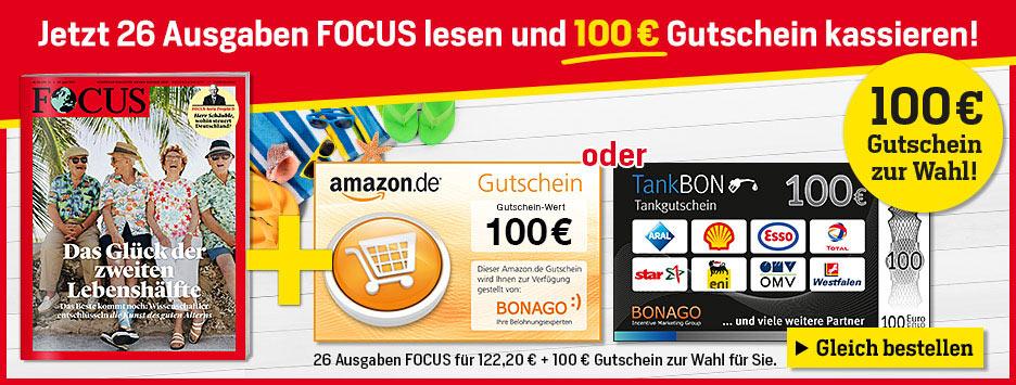 FOCUS - 26 Ausgaben + 100 € Gutschein wählen - Sommerurlaub 2021