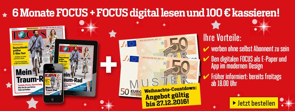 FOCUS Kombi Halbjahres-Abo + 100€ Verrechnungsscheck