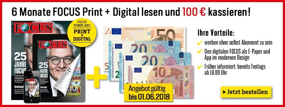 Nur bis 01.06 - FOCUS Kombi + 100€ Scheck!