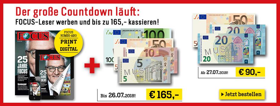 1 Jahr FOCUS Kombi Abo werben und 165 € sichern!