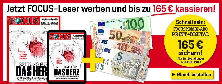 FOCUS Kombi-Abo + 165 € Verrechnungsscheck sichern!