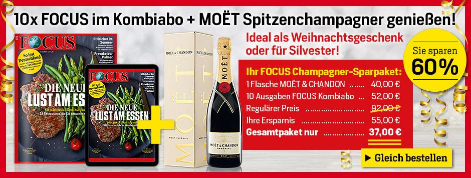 FOCUS 10 Ausgaben im Kombiabo + MOET Spitzenchampagner genießen!