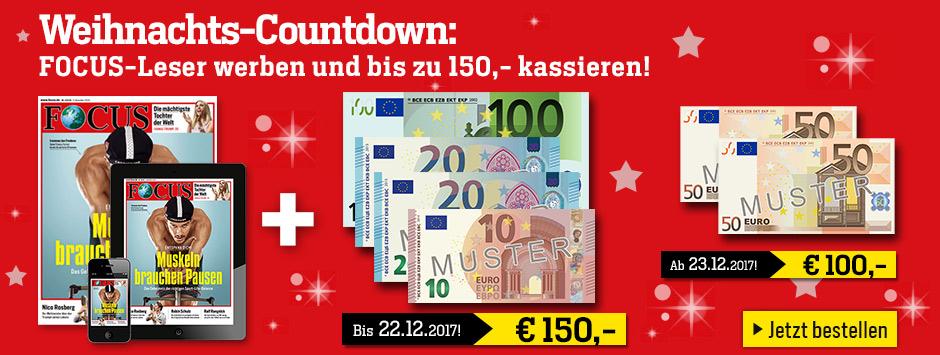 FOCUS Weihnachts-Countdown - Kombi JA - 150 €