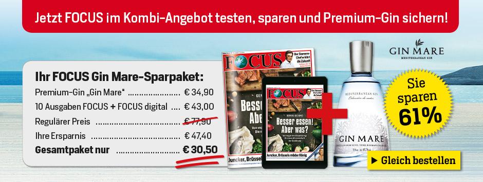 Jetzt FOCUS Kombi-Abo testen und Premium-Gin sichern!