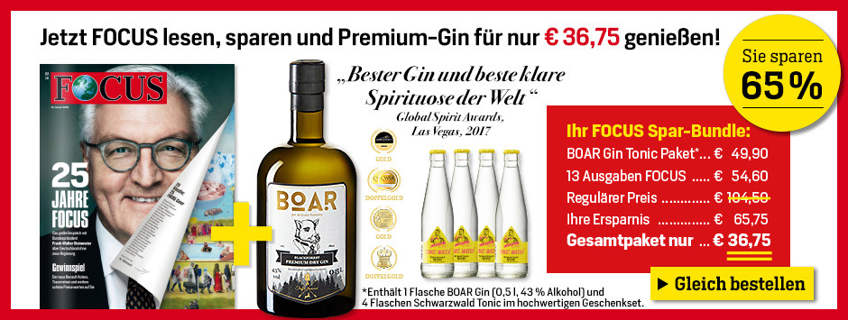FOCUS Exklusiv-Angebot - 13 Ausgaben FOCUS und BOAR Gin Tonic Paket genießen!