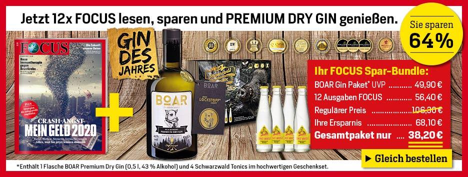 FOCUS + Boar Gin Black für 38,20€