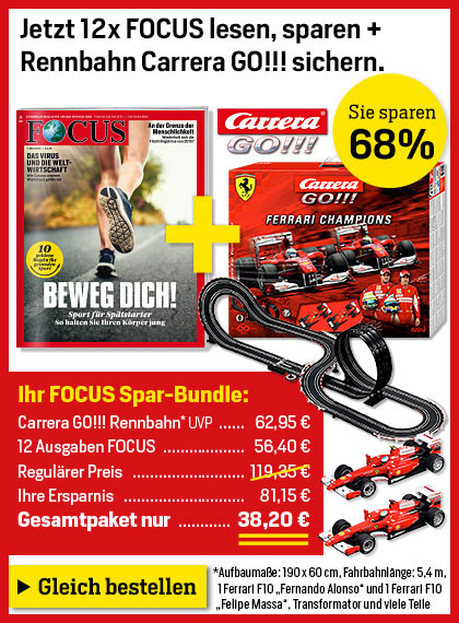 FOCUS Miniabo + Carrera Bahn für 38,20 €