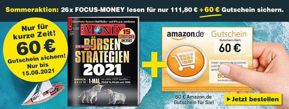 FOCUS-MONEY Halbjahresabo + 60€ Amazon