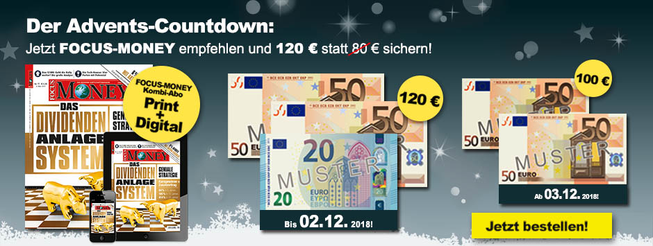 FOCUS-MONEY Advents-Countdown 2018