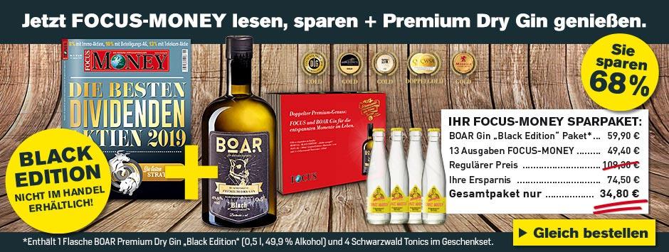 FOCUS-MONEY Exklusiv Angebot - 13 Ausgaben FOCUS-MONEY und Black BOAR Gin Tonic Paket genießen!