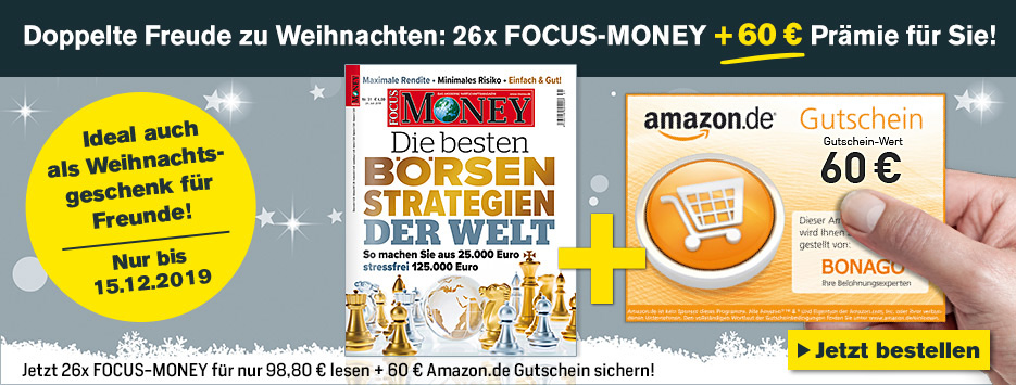 FOCUS-MONEY Halbjahresabo + 60€ Amazon - November 2019