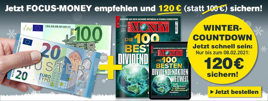 FOCUS-Money Kombi 12 Monate lesen, 9 bezahlen + 120 € Scheck - Januar 2021