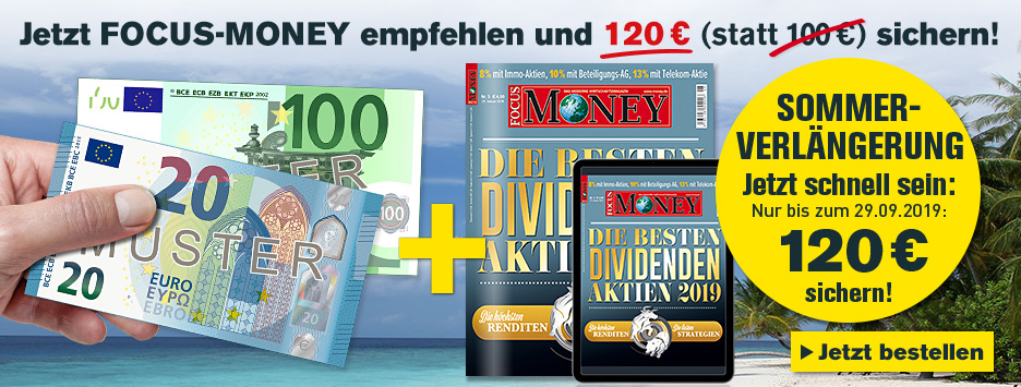 FOCUS-MONEY Kombi + 120 € Scheck sichern - Countdown September 2019