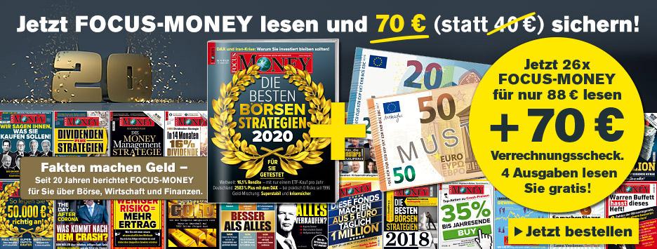 FOCUS Money 26 Ausgaben lesen + 70 € Scheck - NVG
