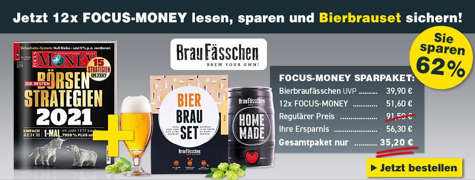 FOCUS-MONEY - 12 Ausgaben + Bierbraufässchen - Juni 2021