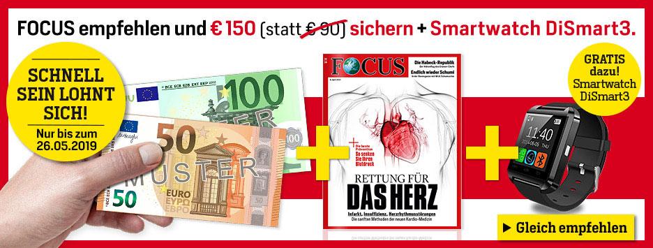 FOCUS Prämien-Abo + 150 € Verrechnungsscheck + Smartwatch DiSmart3 sichern!