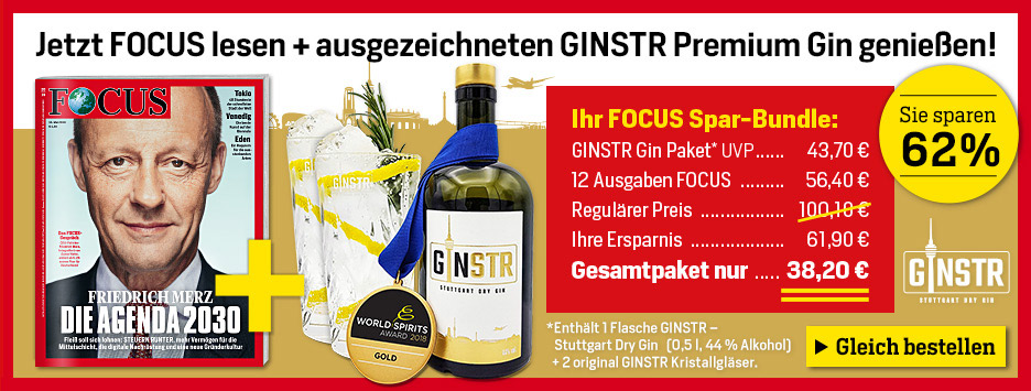 FOCUS Miniabo 12 Ausagben + GINSTR Premium Gin