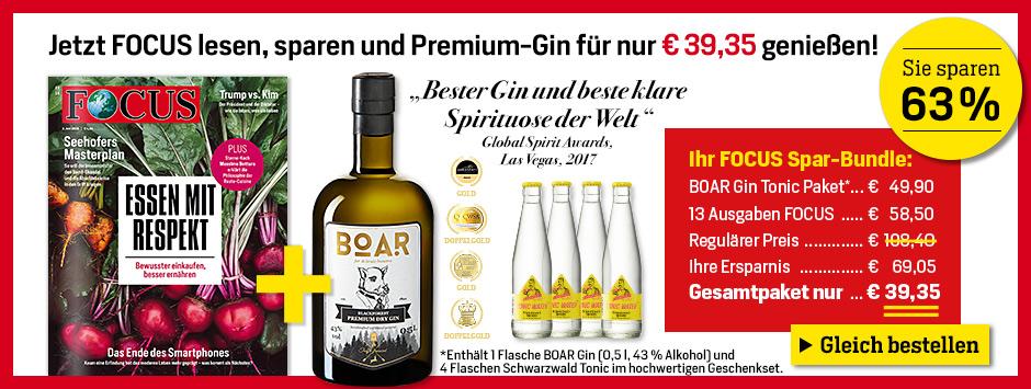 FOCUS 13 Ausgaben lesen, 63% sparen und Premium-Gin genießen!