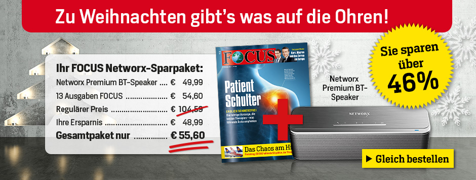 FOCUS-Weihnachts-Angebot: 12 x FOCUS + Networx Bluetooth-Speaker