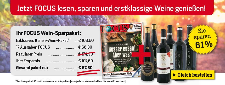 17 x FOCUS + exklusives Wein-Paket von Silkes Weinkeller sichern!