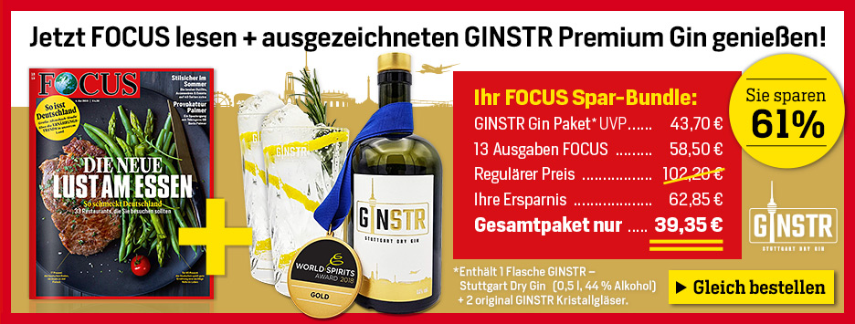 FOCUS 13 Ausgaben Spezial Mini-Abo + Gin GINSTR