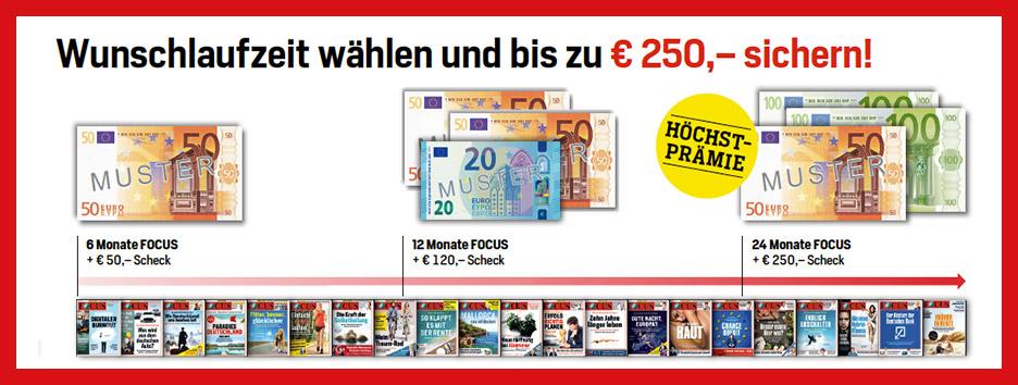 FOCUS Laufzeit wählen und bis zu 250 € sichern!