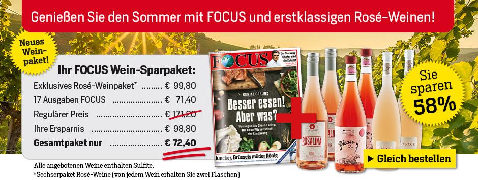 17 x FOCUS + exklusives Rosé-Wein-Paket von Silkes Weinkeller sichern!