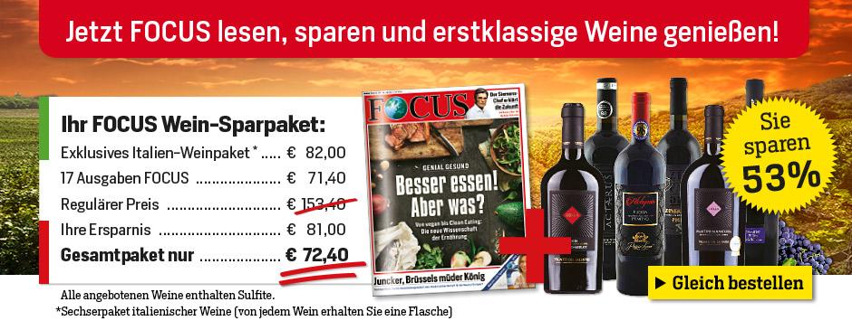 17 x FOCUS + exklusives Italien-Wein-Paket von Silkes Weinkeller sichern!